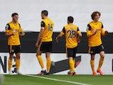 Wolverhampton Wanderers attacker Morgan Gibbs-White celebrates scoring against Brighton & Hove Albion on May 9, 2021