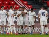 Real Madrid's Nacho celebrates scoring against Athletic Bilbao in La Liga on May 16, 2021
