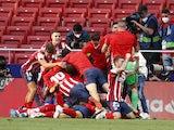 Atletico Madrid's Luis Suarez celebrates scoring against Osasuna in La Liga on May 16, 2021