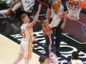 Washington Wizards guard Russell Westbrook shoots past Atlanta Hawks guard Kevin Huerter on May 11, 2021