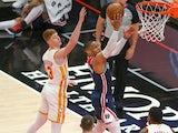 Washington Wizards guard Russell Westbrook shoots past Atlanta Hawks guard Kevin Huerter on May 11, 2021