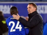 Leicester City manager Brendan Rodgers with Nampalys Mendy after the match on May 7, 2021.