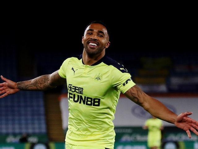 Newcastle United's Callum Wilson celebrates scoring their third goal on May 7, 2021