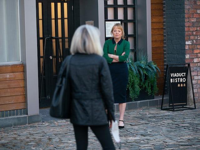 Jenny and Sharon on Coronation Street on May 28, 2021