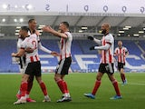 Sheffield United's Daniel Jebbison celebrates scoring against Everton in the Premier League on May 16, 2021