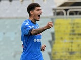 Napoli's Giovanni Di Lorenzo celebrates after the match on May 16, 2021