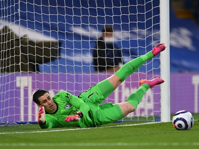 Chelsea's Kepa Arrizabalaga in action against Arsenal in the Premier League on May 12, 2021