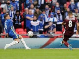 Youri Tielemans scores for Leicester City against Chelsea in the FA Cup final on May 15, 2021