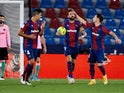 Levante's Jose Luis Morales celebrates scoring their first goal against Barcelona in La Liga on May 11, 2021
