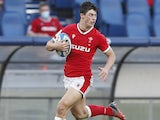 Louis Rees-Zammit in action for Wales on March 13, 2021