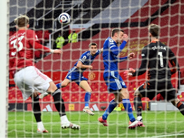 Leicester City's Luke Thomas scores their first goal against Manchester United in the Premier League on May 11, 2021