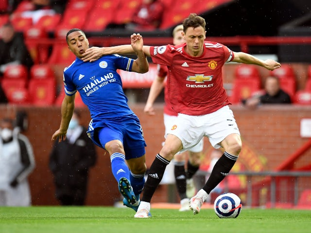 Leicester City's Youri Tielemans in action with Manchester United's Nemanja Matic in the Premier League on May 11, 2021