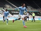 Manchester City's Ferran Torres celebrates scoring their fourth goal against Newcastle United in the Premier League on May 14, 2021