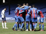 Crystal Palace's Tyrick Mitchell celebrates scoring against Aston Villa in the Premier League on May 16, 2021