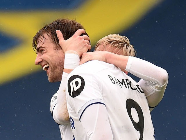 Leeds United's Patrick Bamford celebrates scoring their second goal with Ezgjan Alioski on May 8, 2021