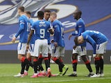 Rangers' Jermain Defoe celebrates scoring their fourth goal against Aberdeen in the Scottish Premiership on May 15, 2021