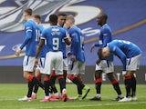 Rangers' Jermain Defoe celebrates scoring their fourth goal against Aberdeen in the Scottish Premiership on May 15, 2021