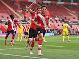 Southampton's Che Adams celebrates scoring their first goal against Fulham in the Premier League on May 15, 2021