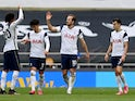 Tottenham Hotspur's Harry Kane celebrates scoring against Wolverhampton Wanderers in the Premier League on May 16, 2021