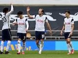 Tottenham Hotspur's Harry Kane celebrates scoring against Wolverhampton Wanderers in the Premier League on May 16, 2021