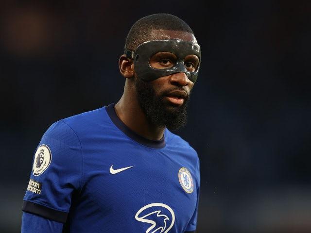 Antonio Rudiger in action for Chelsea in May 2021