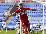 Ashley Fletcher celebrates for Middlesbrough in February 2021