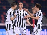 Juventus' Alvaro Morata celebrates scoring against Bologna in Serie A on May 23, 2021