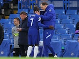 Chelsea's N'Golo Kante goes off injured against Leicester City in the Premier League on May 18, 2021
