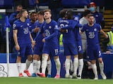 Antonio Rudiger celebrates scoring for Chelsea against Leicester City in the Premier League on May 18, 2021
