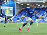 Everton's Richarlison celebrates scoring against Wolverhampton Wanderers in the Premier League on May 19, 2021