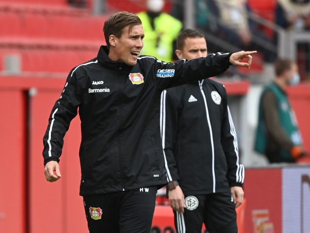 Bayer Leverkusen coach Hannes Wolf reacts on May 15, 2021