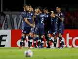 Racing Club's Imanol Segovia celebrates scoring their first goal with teammates on 18 May, 2021