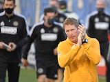Philadelphia Union head coach Jim Curtin walks onto the field before match against the New England Revolution on May 12, 2021