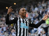 Newcastle United's Joseph Willock celebrates scoring against Sheffield United in the Premier League on May 19, 2021