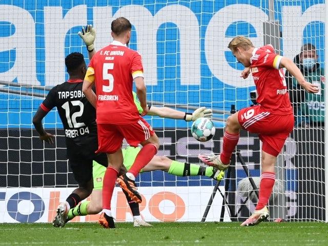 FC Union Berlin's Joel Pohjanpalo scores their first goal on 15 May, 2021