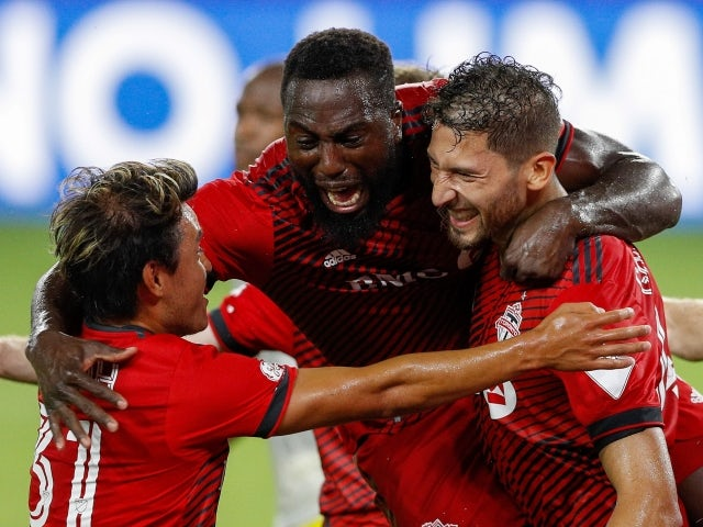 Toronto FC forward Jozy Altidore celebrates his goal with teammates on May 12, 2021