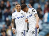 Leeds United's Rodrigo celebrates scoring against West Bromwich Albion in the Premier League on May 23, 2021