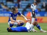 Leicester City's Wesley Fofana goes down injured against Tottenham Hotspur in the Premier League on May 23, 2021