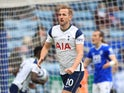 Tottenham Hotspur's Harry Kane celebrates scoring their first goal against Leicester City in the Premier League on May 23, 2021