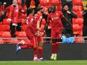 Liverpool's Sadio Mane celebrates scoring against Crystal Palace in the Premier League on May 23, 2021