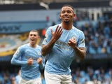Manchester City's Gabriel Jesus celebrates scoring against Everton in the Premier League on May 23, 2021
