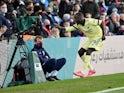 Arsenal forward Nicolas Pepe celebrates scoring against Crystal Palace on May 20, 2021