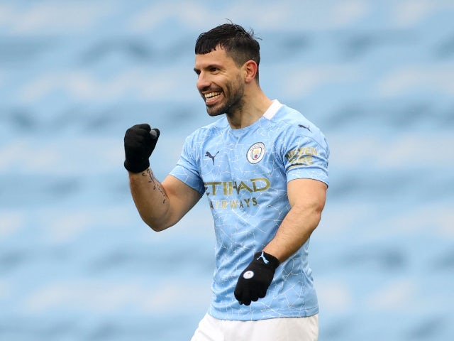 Sergio Aguero pictured during his final Premier League game for Manchester City on May 23, 2021