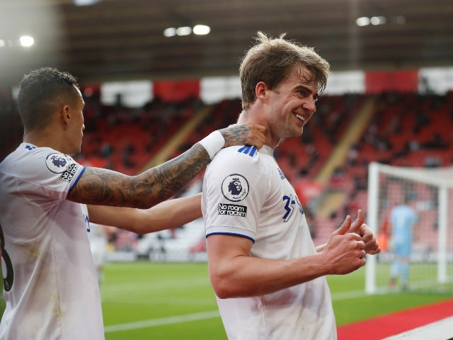 Leeds United's Patrick Bamford celebrates scoring against Southampton in the Premier League on May 18, 2021