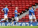St Johnstone's Shaun Rooney celebrates scoring their first goal against Hibernian in the Scottish Cup final on May 22, 2021