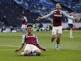 Aston Villa's Ollie Watkins celebrates scoring against Tottenham Hotspur in the Premier League on May 19, 2021