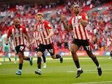 Brentford's Ivan Toney celebrates scoring their first goal against Swansea City in the Championship playoff final on May 29, 2021