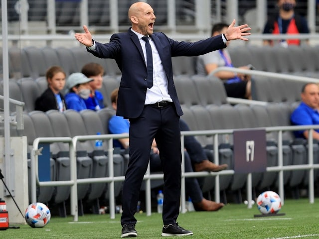 FC Cincinnati head coach Jaap Stam reacts from the sideline on May 16, 2021