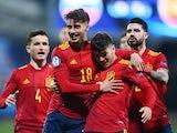 Spain Under-21s' Javier Puado celebrates scoring on March 24, 2021