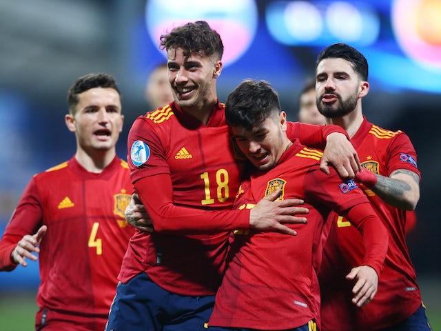 El jugador de la selección española sub-21 Javier Boadu celebra el gol del 24 de marzo de 2021
